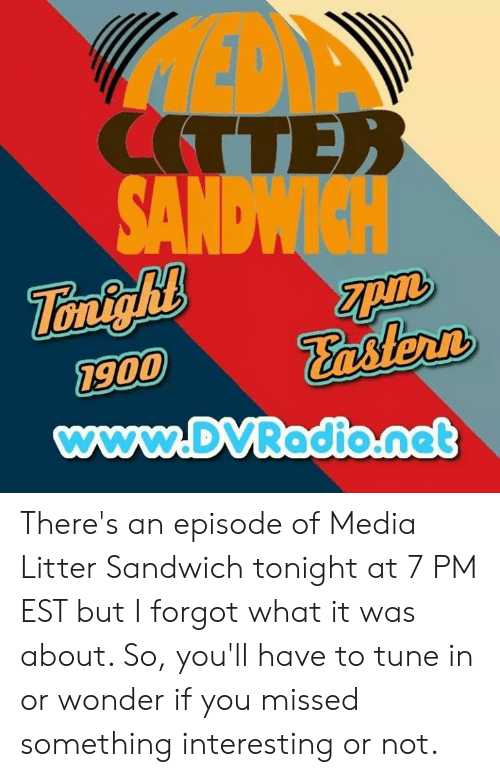 Memes, Wonder, and 🤖: ITTE  on  astert  900  www.DVRadio.nat There's an episode of Media Litter Sandwich tonight at 7 PM EST but I forgot what it was about. So, you'll have to tune in or wonder if you missed something interesting or not.
