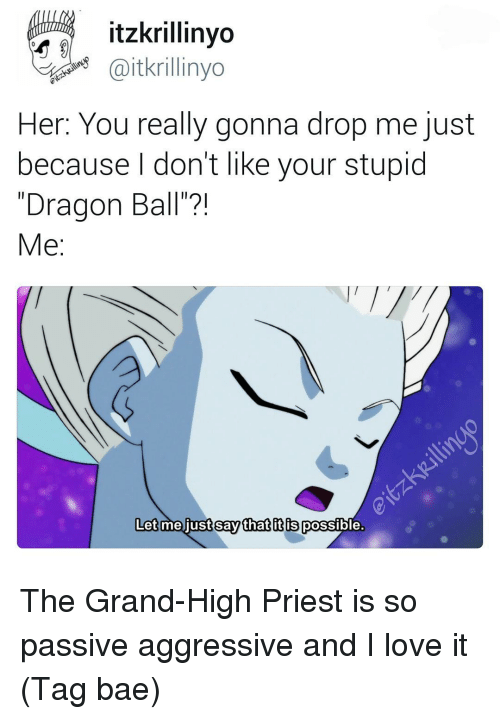 """Passive Aggressive, Grand, and Fandom: itzkrillinyo  Caitkrillinyo  er: You really gonna drop me just  because don't like your stupid  """"Dragon Ball""""?!  Me  Let me just say that it is  possible The Grand-High Priest is so passive aggressive and I love it (Tag bae)"""
