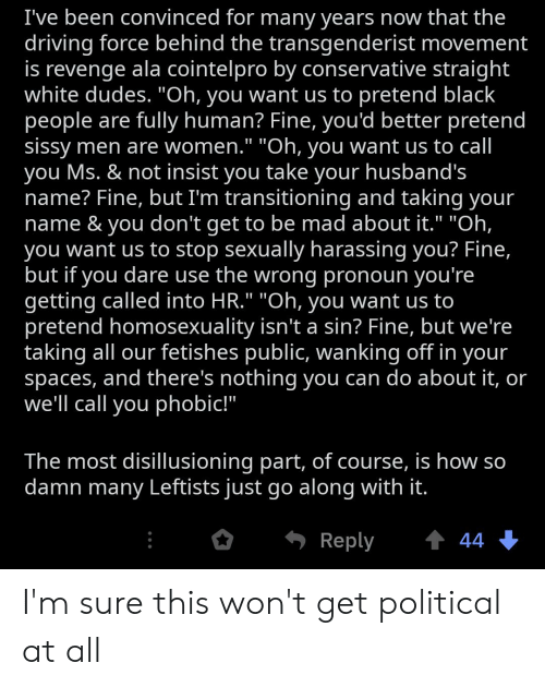 """Driving, Revenge, and Black: I've been convinced for many years now that the  driving force behind the transgenderist movement  is revenge ala cointelpro by conservative straight  white dudes. """"Oh, you want us to pretend black  people are fully human? Fine, you'd better pretend  sissy men are women."""" """"Oh, you want us to call  you Ms. & not insist you take your husband's  name? Fine, but I'm transitioning and taking your  name & you don't get to be mad about it."""" """"Oh,  you want us to stop sexually harassing you? Fine,  but if you dare use the wrong pronoun you're  getting called into HR."""" """"Oh, you want us to  pretend homosexuality isn't a sin? Fine, but we're  taking all our fetishes public, wanking off in your  spaces, and there's nothing you can do about it, or  we'll call you phobic!""""  The most disillusioning part, of course, is how so  damn many Leftists just go along with it.  t 44  Reply I'm sure this won't get political at all"""