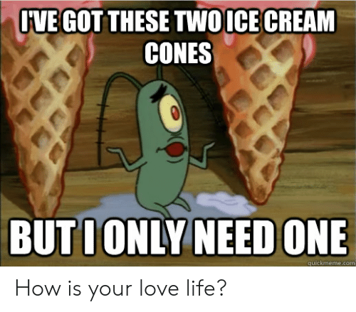 Life, Love, and Reddit: IVE GOTTHESE TWOICE CREAM  CONES  BUTIONLY NEED ONE  quickmeme.com How is your love life?