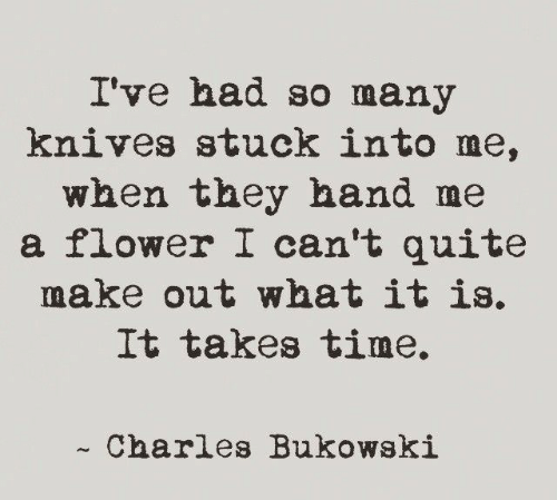 Flower, Quite, and Time: I've had so many  knives stuck into me,  when they hand me  a flower I can't quite  make out what it is,  It Takes time.  -Charles Bukowski
