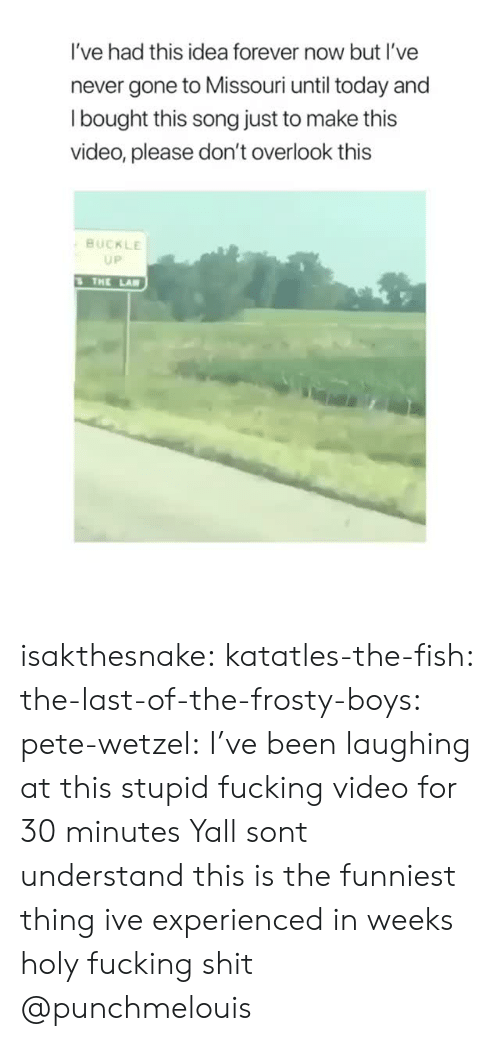 Fucking, Shit, and Target: I've had this idea forever now but I've  never gone to Missouri until today and  l bought this song just to make this  video, please don't overlook this  BUCKLE  UP  THE LA isakthesnake: katatles-the-fish:  the-last-of-the-frosty-boys:  pete-wetzel: I've been laughing at this stupid fucking video for 30 minutes Yall sont understand this is the funniest thing ive experienced in weeks   holy fucking shit  @punchmelouis