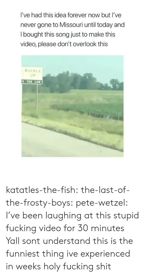 Fucking, Shit, and Target: I've had this idea forever now but I've  never gone to Missouri until today and  l bought this song just to make this  video, please don't overlook this  BUCKLE  UP  THE LA katatles-the-fish:  the-last-of-the-frosty-boys:  pete-wetzel: I've been laughing at this stupid fucking video for 30 minutes Yall sont understand this is the funniest thing ive experienced in weeks   holy fucking shit