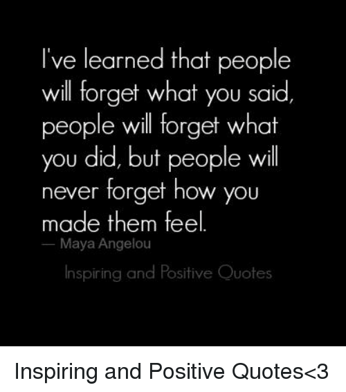 Ive Learned That People Will Forget What You Said Ple Will Forget