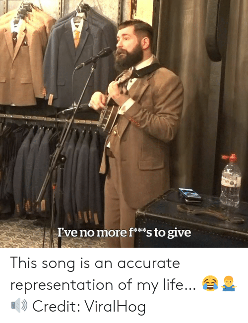 Life, Accurate Representation, and Song: I've no more f**s to give This song is an accurate representation of my life… 😂🤷♂️🔊  Credit: ViralHog
