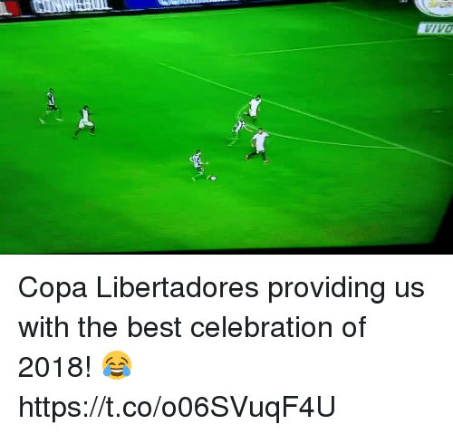 Soccer, Best, and Copa Libertadores: IVO Copa Libertadores providing us with the best celebration of 2018! 😂 https://t.co/o06SVuqF4U
