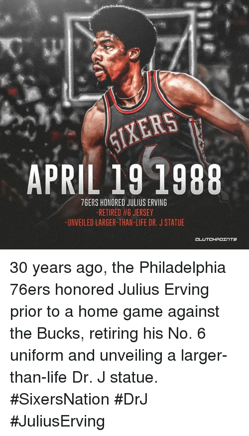 c8019578c IXERS APRIL 19 1988 76ERS HONORED JULIUS ERVING -RETIRED  6 JERSEY ...