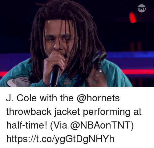 Sizzle: J. Cole with the @hornets throwback jacket performing at half-time!    (Via @NBAonTNT) https://t.co/ygGtDgNHYh