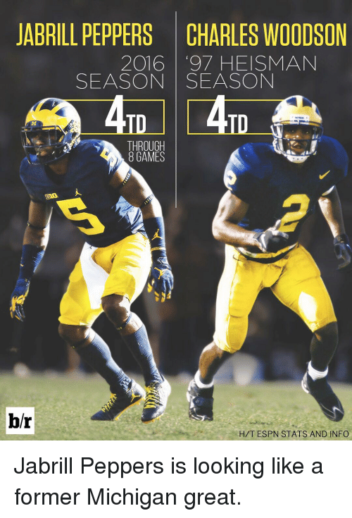info for 4c8f8 02763 JABRILL PEPPERS CHARLES WOODSON 2016 '97 HEISMAN SEASON ...