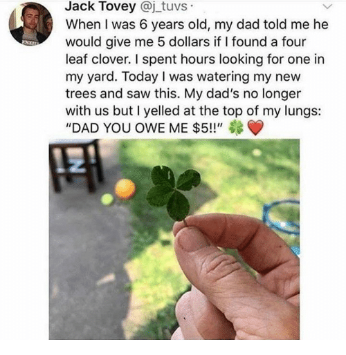 "Dad, Dank, and Saw: Jack Tovey @j tuvs  When I was 6 years old, my dad told me he  would give me 5 dollars if I found a four  leaf clover. I spent hours looking for one in  my yard. Today I was watering my new  trees and saw this. My dad's no longer  with us but I yelled at the top of my lungs:  ""DAD YOU OWE ME $5!!"""