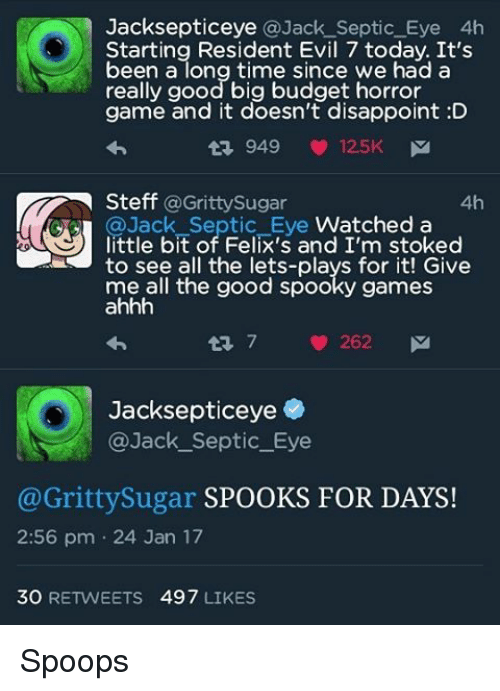 jacksepticeye septic eye 4h starting resident evil 7 today it s been
