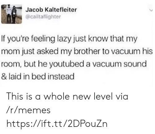Lazy, Memes, and Vacuum: Jacob Kaltefleiter  @calltaflighter  If you're feeling lazy just know that my  mom just asked my brother to vacuum his  room, but he youtubed a vacuum sound  & laid in bed instead This is a whole new level via /r/memes https://ift.tt/2DPouZn