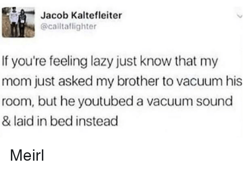 Lazy, Vacuum, and MeIRL: Jacob Kaltefleiter  @caltaflighter  If you're feeling lazy just know that my  mom just asked my brother to vacuum his  room, but he youtubed a vacuum sound  & laid in bed instead Meirl