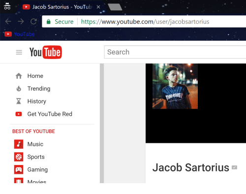 Movies, Music, and Sports: Jacob Sartorius YouTub X  Oro  Secure  https://  www.youtube.com  /user/jacobsartorius  YouTube  E You  Tube  Search  Home  Trending  History  Get YouTube Red  BEST OF YOUTUBE  Music  Sports  Jacob Sartorius  Gaming  A Movies