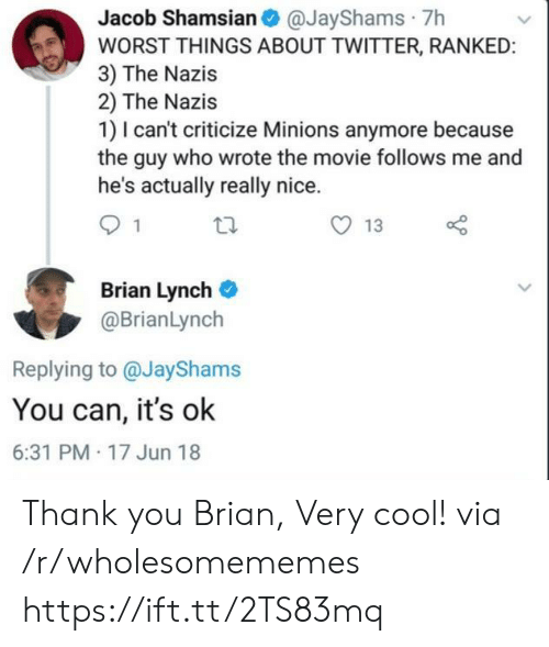 Twitter, Thank You, and Cool: Jacob Shamsian@JayShams 7h  WORST THINGS ABOUT TWITTER, RANKED:  3) The Nazis  2) The Nazis  1) I can't criticize Minions anymore because  the guy who wrote the movie follows me and  he's actually really nice.  13  Brian Lynch  @BrianLynch  Replying to @JayShams  You can, it's ok  6:31 PM 17 Jun 18 Thank you Brian, Very cool! via /r/wholesomememes https://ift.tt/2TS83mq