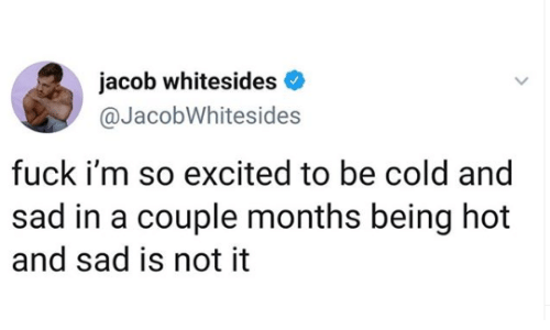 Memes, Cold, and Sad: jacob whitesides  @JacobWhitesides  fuck i'm so excited to be cold and  sad in a couple months being hot  and sad is not it