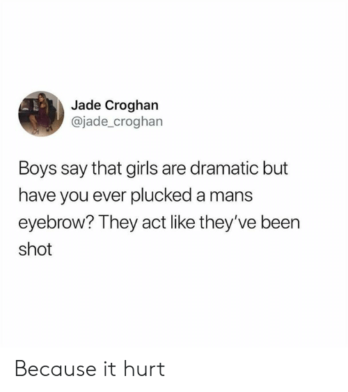 Dank, Girls, and Been: Jade Croghan  @jade_croghan  Boys say that girls are dramatic but  have you ever plucked a mans  eyebrow? They act like they've been  shot Because it hurt