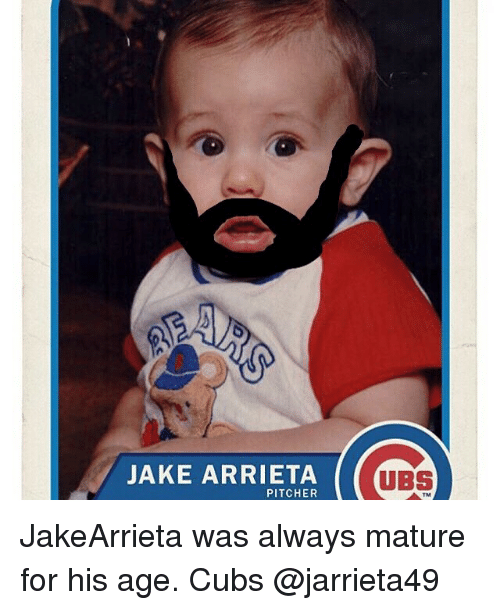 Chicago Cubs, Cubs, and Ubs: JAKE ARRIETA  PITCHER  UBS JakeArrieta was always mature for his age. Cubs @jarrieta49
