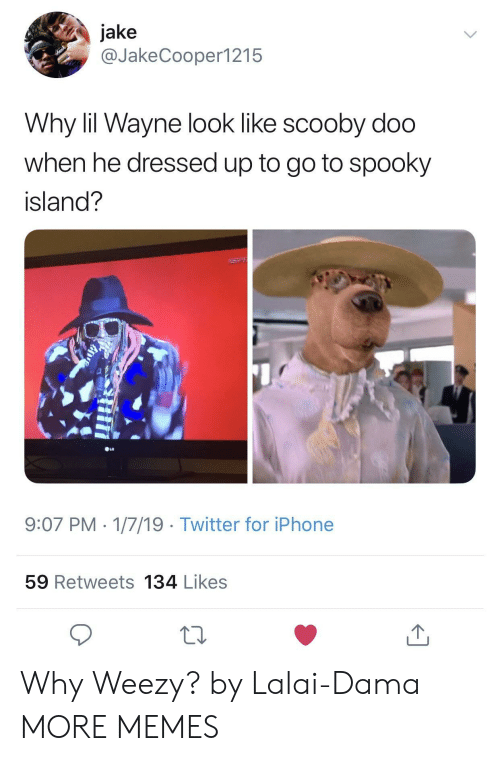 Dank, Iphone, and Lil Wayne: jake  @JakeCooper1215  Why lil Wayne look like scooby doo  when he dressed up to go to spooky  island?  9:07 PM 1/7/19 Twitter for iPhone  59 Retweets 134 Likes Why Weezy? by Lalai-Dama MORE MEMES