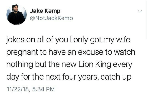 Pregnant, Jokes, and Lion: Jake Kemp  @NotJackKemp  jokes on all of you l only got my wife  pregnant to have an excuse to watch  nothing but the new Lion King every  day for the next four years. catch up  11/22/18, :34 PM