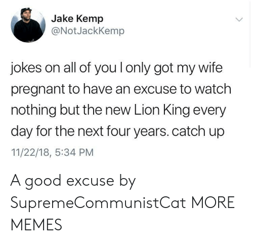 Dank, Memes, and Pregnant: Jake Kemp  @NotJackKemp  jokes on all of you l only got my wife  pregnant to have an excuse to watch  nothing but the new Lion King every  day for the next four years. catch up  11/22/18, :34 PM A good excuse by SupremeCommunistCat MORE MEMES