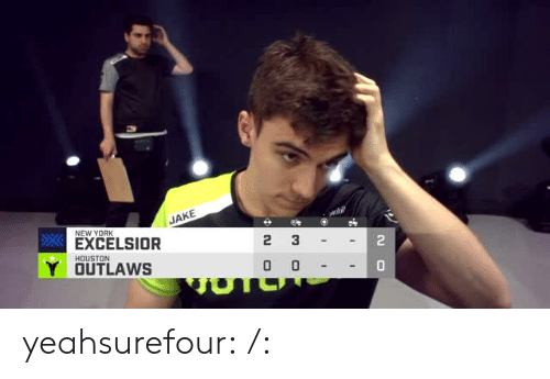 New York, Tumblr, and Blog: JAKE  NEW YORK  EXCELSIOR  2  HOUSTON  Y OUTLAWS  0 yeahsurefour:  /: