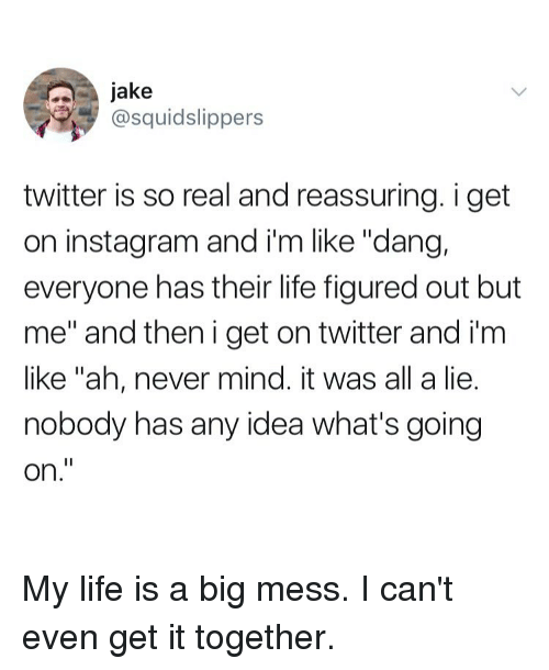"""Instagram, Life, and Twitter: jake  @squidslippers  twitter is so real and reassuring. i get  on instagram and i'm like """"dang,  everyone has their life figured out but  me"""" and then i get on twitter and i'm  like """"ah, never mind. it was all a lie.  nobody has any idea what's going  on."""" My life is a big mess. I can't even get it together."""