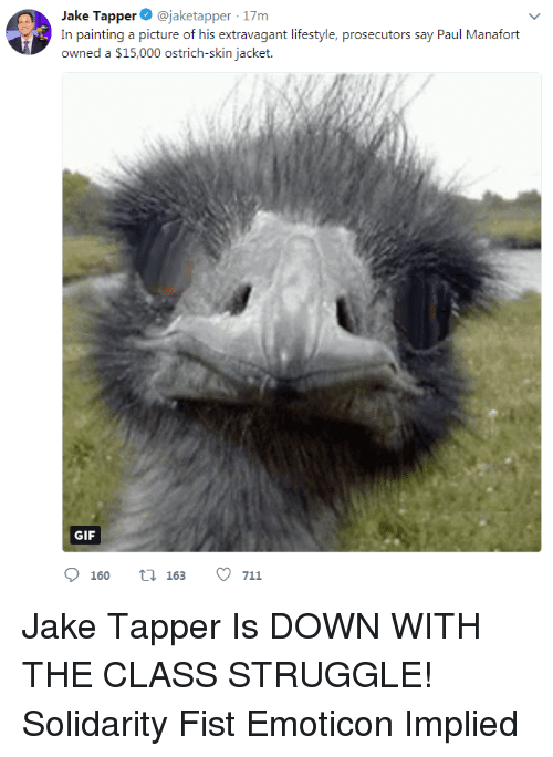 Gif, Struggle, and Lifestyle: Jake Tapper@jaketapper 17m  In painting a picture of his extravagant lifestyle, prosecutors say Paul Manafort  owned a $15,000 ostrich-skin jacket  GIF  160 t 163 711