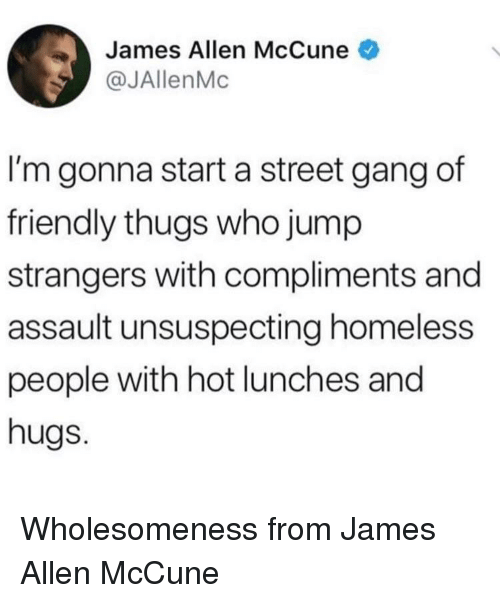 Homeless, Gang, and James Allen: James Allen McCune  @JAllenMc  I'm gonna start a street gang of  friendly thugs who jump  strangers with compliments and  assault unsuspecting homeless  people with hot lunches and  hugs. Wholesomeness from James Allen McCune