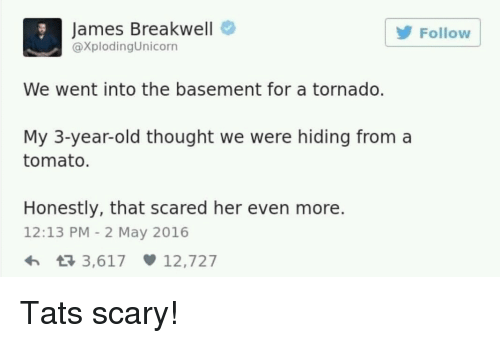 Tornado, Old, and Thought: James Breakwell  @XplodingUnicorn  Follow  We went into the basement for a tornado.  My 3-year-old thought we were hiding from a  tomato  Honestly, that scared her even more.  12:13 PM - 2 May 2016 Tats scary!