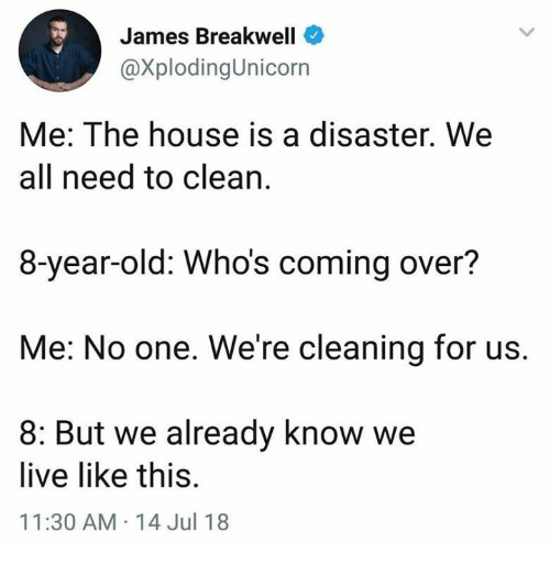 Dank, House, and Live: James Breakwell  @XplodingUnicorn  Me: The house is a disaster. We  all need to clean.  8-year-old: Who's coming over?  Me: No one. We're cleaning for us.  8: But we already know we  live like this.  11:30 AM-14 Jul 18
