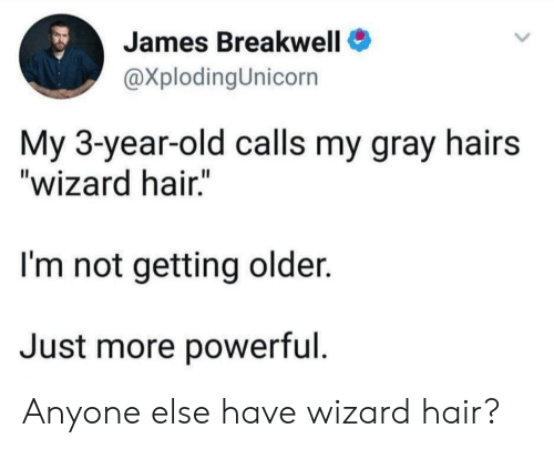 """Hair, Old, and Powerful: James Breakwell  @XplodingUnicorn  My 3-year-old calls my gray hairs  """"wizard hair.""""  I'm not getting older.  Just more powerful. Anyone else have wizard hair?"""