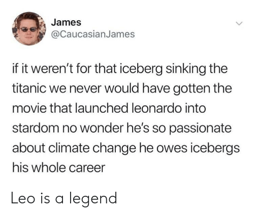Reddit, Titanic, and Movie: James  @CaucasianJames  if it weren't for that iceberg sinking the  titanic we never would have gotten the  movie that launched leonardo into  stardom no wonder he's so passionate  about climate change he owes icebergs  his whole career Leo is a legend
