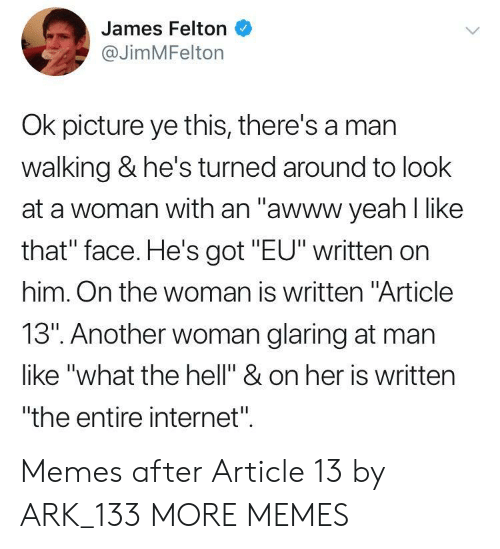 "Dank, Internet, and Memes: James Felton  @JimMFelton  Ok picture ye this, there's a mar  walking & he's turned around to look  at a woman with an ""awww yeah l like  that"" face. He's got ""EU"" written on  him. On the woman is written ""Article  13"". Another woman glaring at man  like ""what the hell"" & on her is written  ""the entire internet"". Memes after Article 13 by ARK_133 MORE MEMES"