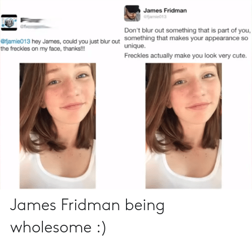 Cute, Wholesome, and Blur: James Fridman  Don't blur out something that is part of you,  something that makes your appearance so  unique.  Freckles actually make you look very cute.  fjamie013 hey James, could you just blur out  the freckles on my face, thanks!!! James Fridman being wholesome :)