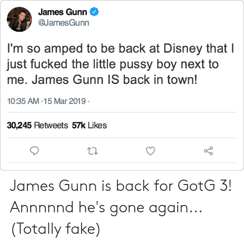 Disney, Fake, and Funny: James Gunn  @JamesGunn  I'm so amped to be back at Disney that I  me. James Gunn IS back in town!  10:35 AM-15 Mar 2019  30,245 Retweets 57k Likes James Gunn is back for GotG 3! Annnnnd he's gone again... (Totally fake)