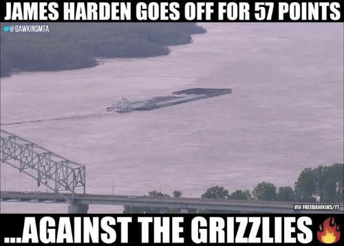 Memphis Grizzlies, James Harden, and Nba: JAMES HARDEN GOES OFF FOR 57 POINTS  @ DAWKINSMTA  VIA FREEDAWKINS/YT  ..AGAINST THE GRIZZLIES