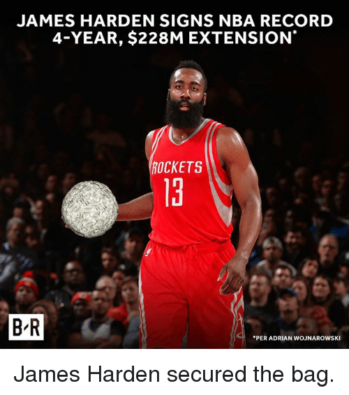 James Harden, Nba, and Record: JAMES HARDEN SIGNS NBA RECORD  4-YEAR, $228M EXTENSION  ROCKETS  13  t.  B R  PER ADRIAN WOJNAROWSKI James Harden secured the bag.