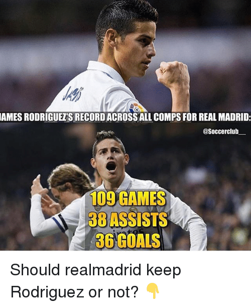 Goals, Memes, and Real Madrid: JAMES RODRIGUEZS RECORD ACROSSALLCOMPS FOR REAL MADRID:  asoccerclub  109 GAMES  38 ASSISTS  36 GOALS Should realmadrid keep Rodriguez or not? 👇