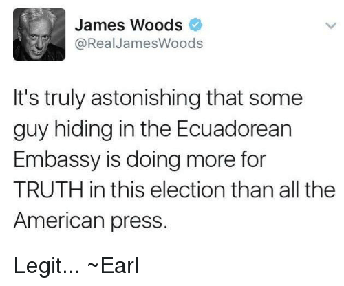 Memes, American, and Astonishing: James Woods  @Real James Woods  It's truly astonishing that some  guy hiding in the Ecuadorean  Embassy is doing more for  TRUTH in this election than all the  American press. Legit... ~Earl