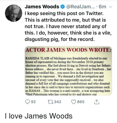 Detroit, Love, and True: James Woods @RealJam... 6m v  I keep seeing this post on Twitter.  This is attributed to me, but that is  not true. I have never stated any of  this. I do, however, think she is a vile,  disgusting pig, for the record.  ACTOR JAMES WOODS WROTE:  RASHIDA TLAIB of Michigan was fraudulently elected to our  house of representatives during the November 2018 primary  election process. She lied about living in Detroit using her fathers  house address.. she never lived there. she lived in Dearbom. her  father has verified this . you must live in the district you are  running in to represent. We demand a full investigation and  recount of every vote that she supposedly received we also  demand a full list of all campaign contributions and who donated  to her since she is said to have ties to terrorist organizations such  as HAMAS This woman is a anti-semite, a war mongering hate  illed Palestinian who has vowed to trv and destrov our  92 t342 865