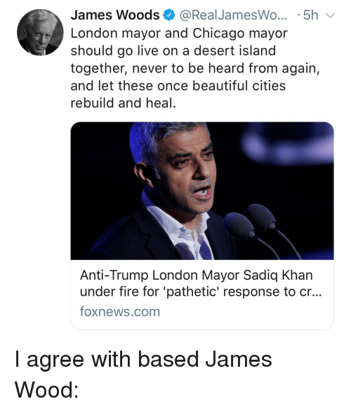 Beautiful, Chicago, and Fire: James Woods @RealJamesWo...5h  London mayor and Chicago mayor  should go live on a desert island  together, never to be heard from again,  and let these once beautiful cities  rebuild and heal.  Anti-Trump London Mayor Sadiq Khan  under fire for 'pathetic' response to cr..  Toxnews.com