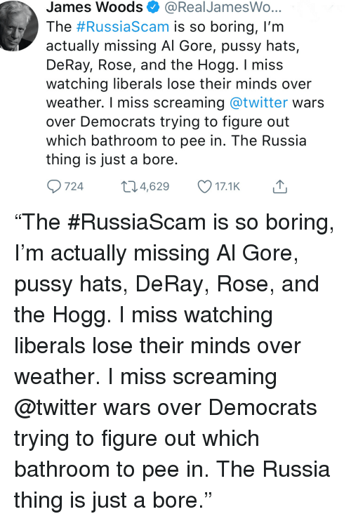 Al Gore, Pussy, and Twitter: James Woods@RealJamesWo  The #RussiaScam is so boring, I'm  actually missing Al Gore, pussy hats,  DeRay, Rose, and the Hogg. I miss  watching liberals lose their minds over  weather. I miss screaming @twitter wars  over Democrats trying to figure out  which bathroom to pee in. The Russia  thing is just a bore  9724t4,629 17.1K