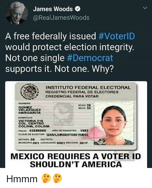America, Free, and Integrity: James Woods  @RealJamesWoods  A free federally issued #VoterlD  would protect election integrity.  Not one single #Democrat  supports it. Not one. Why?  INSTITUTO FEDERAL ELECTORAL  REGISTRO FEDERAL DE ELECTORES  CREDENCIAL PARA VOTAR  CONEZ  VELAZQUEZ  MARGARITA  MEXICO REQUIRES A VOTER ID  SHOULDN'T AMERICA Hmmm 🤔🤔