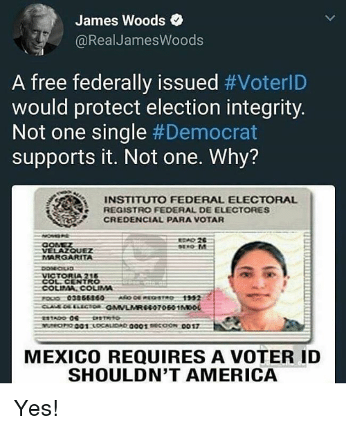 America, Memes, and Free: James Woods  @RealJamesWoods  A free federally issued #VoterlD  would protect election integrity.  Not one single #Democrat  supports it. Not one. Why?  INSTITUTO FEDERAL ELECTORAL  REGISTRO FEDERAL DE ELECTORES  CREDENCIAL PARA VOTAR  CONEZ  VELAZQUEZ  MARGARITA  MEXICO REQUIRES A VOTER ID  SHOULDN'T AMERICA Yes!