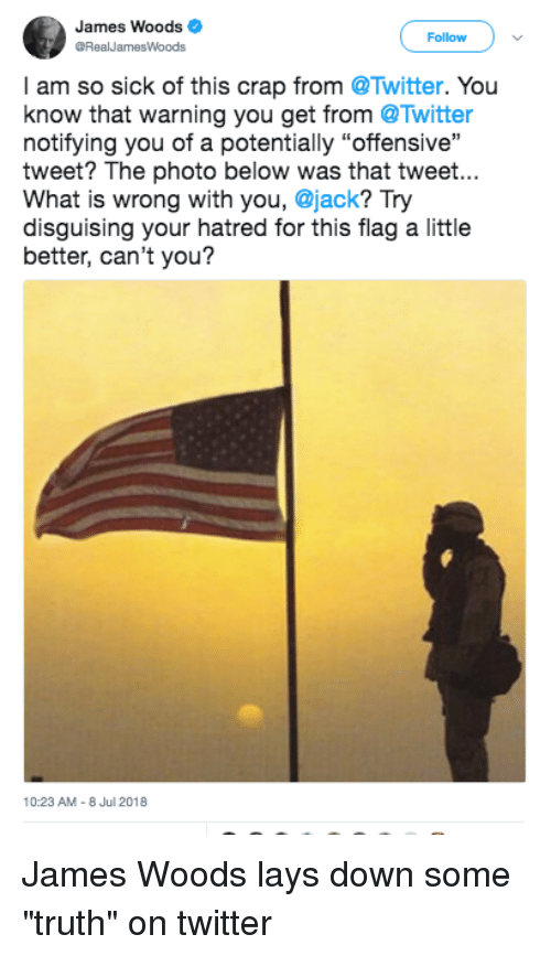 """Lay's, Twitter, and What Is: James Woods  RealJamesWoods  Follow  I am so sick of this crap from @Twitter. You  know that warning you get from @Twitter  notifying you of a potentially """"offensive""""  tweet? The photo below was that tweet...  What is wrong with you, @jack? Try  disguising your hatred for this flag a little  better, can't you?  10:23 AM-8 Jul 2018 James Woods lays down some """"truth"""" on twitter"""
