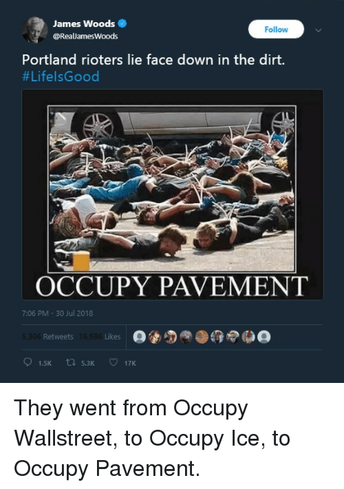 James Woods, Portland, and Ice: James Woods  @RealJamesWoods  Follow  Portland rioters lie face down in the dirt.  #LifelsGood  OCCUPY PAVEMENT  7:06 PM -30 Jul 2018  Retweets  Likes
