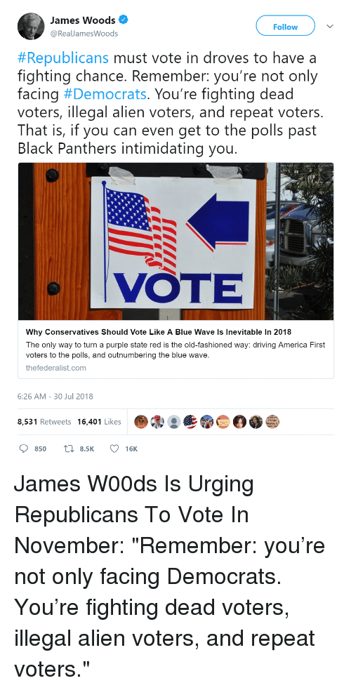 America, Driving, and Alien: James Woods  @RealJamesWoods  Follow  #Republicans must vote in droves to have a  fighting chance. Remember: you're not only  facing #Democrats. You're fighting dead  voters, illegal alien voters, and repeat voters.  That is, if you can even get to the polls past  Black Panthers intimidating you  VOTE  Why Conservatives Should Vote Like A Blue Wave ls Inevitable In 2018  The only way to turn a purple state red is the old-fashioned way: driving America First  voters to the polls, and outnumbering the blue wave  thefederalist.com  6:26 AM-30 Jul 2018  8,531 Retweets 16,401 Likes .®  850 8.5K 16K