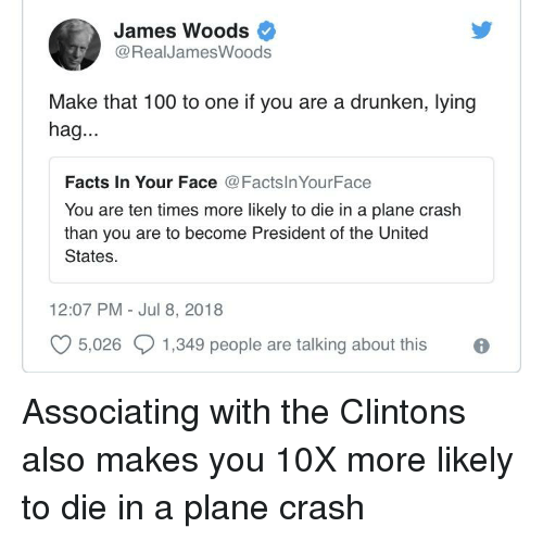 Anaconda, Facts, and Plane Crash: James Woods  @RealJamesWoods  Make that 100 to one if you are a drunken, lying  hag...  Facts In Your Face @FactslnYourFace  You are ten times more likely to die in a plane crash  than you are to become President of the United  States  12:07 PM Jul 8, 2018  O 5,026  1,349 people are talking about this