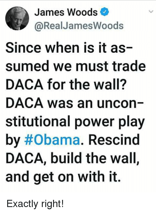 Memes, Obama, and Power: James Woods  @RealJamesWoods  Since when is it as-  sumed we must trade  DACA for the wall?  DACA was an uncon  stitutional power play  by#Obama. Rescind  DACA, build the wall,  and get on with it. Exactly right!